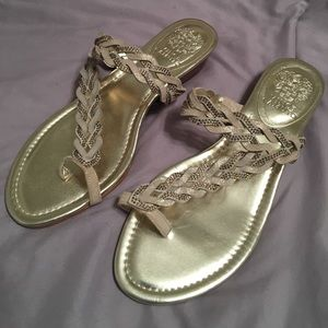Vince Camuto Gold Toe Loop Sandal